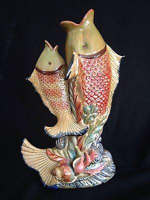 Ceramic Fish Vase Pottery Art Nouveau Duo