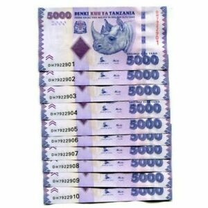TANZANIA-SET-10-PCS-5000-5-000-Shillings-2015-Pick-43b-NEW-UNC