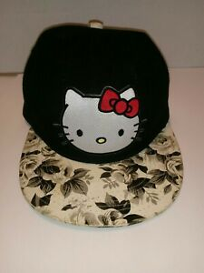 HELLO-KITTY-BLACK-HAT-CAP-WITH-ROSE-PRINT-FABRIC