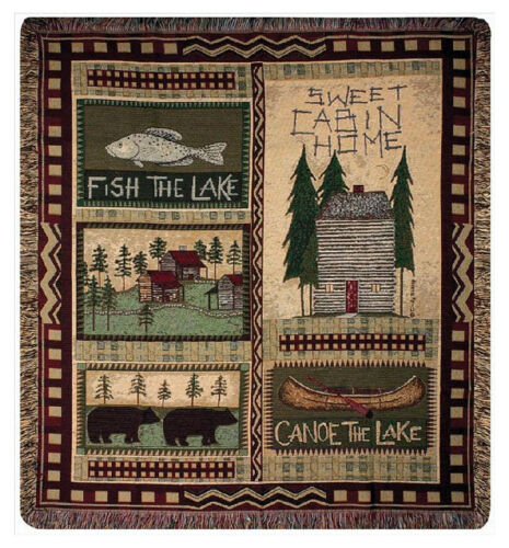 THROWS - LAKE HOUSE TAPESTRY THROW BLANKET - FISHING - CABIN - LODGE DECOR