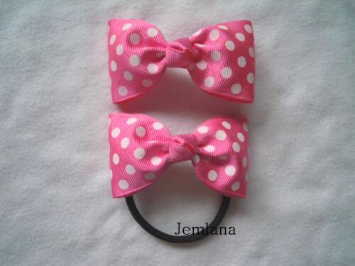 Jemlana/'s handmade polka dot hair clips or hair ties for girls...