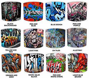 MODERNE-URBAIN-RUE-Art-Graffiti-Style-Lumiere-Plafond-nuances-ou-table-abat-jour