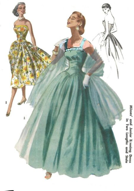 aa21ca2d5ad Vintage 1950 s Sewing Pattern Evening Dress Bridal Ball Gown Bust ...