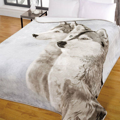 Animal Print Mink Faux Fur Throw Soft Warm Wolf Husky Fleece Blanket 150 x 200cm