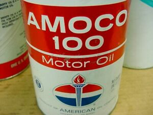 GREAT SHAPE ~ Hard to Find 1960's era AMERICAN AMOCO 100 MOTOR OIL Old 1 qt. Can