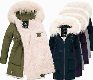 Marikoo warme Damen Winter Jacke Teddyfell gefütterte Winterjacke B802