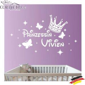 Name Prinzessin Sterne Schmetterlinge Wandtattoo Kinder