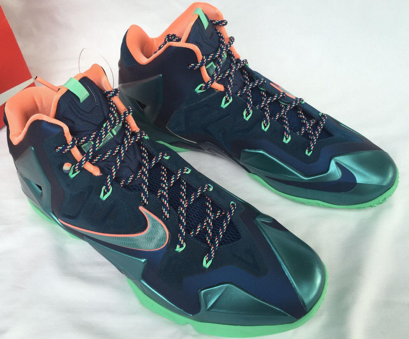 Nike lebron xi 11 akron / miami 616175-400 scarpe da basket maschile di james nuova
