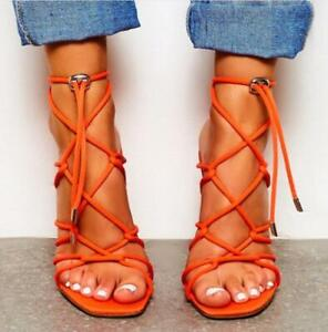 Ladies-Womens-Sexy-Peep-Toe-Buckle-Sandals-Ankle-Strap-Block-High-Heels-Shoes-Sz
