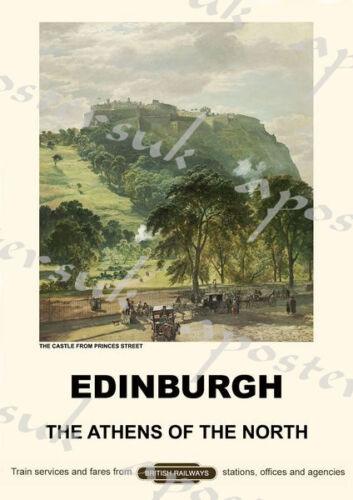Vintage Style Railway Poster Edinburgh A4//A3//A2 Print