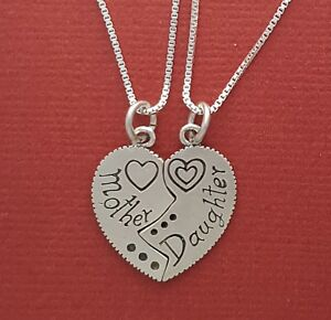 Mother daughter necklaces sterling silver solid 925 pendants n image is loading mother daughter necklaces sterling silver solid 925 pendants aloadofball Images