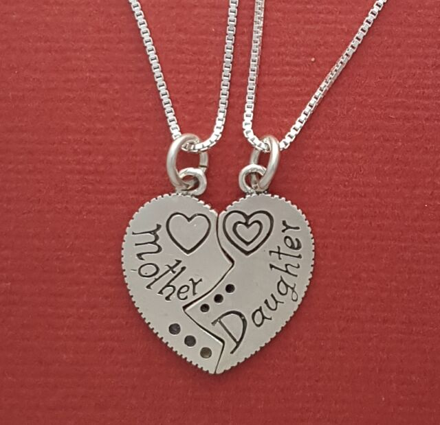 Mother Daughter Necklaces sterling silver Solid 925 pendants n chains mum heart