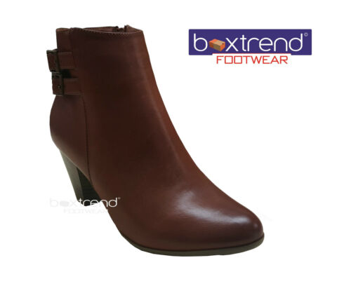 NEW WOMENS LADIES SIDE ZIP MID HEEL BUCKLE STRAP CHELSEA ANKLE BOOTS SHOES SLIP