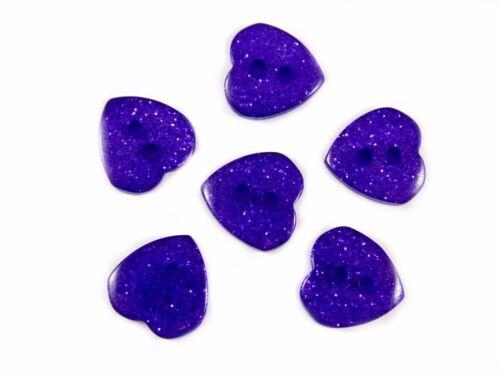 10 Colours /& Mixed Card Embellishments Scrapbooks 13mm Glitter Heart Buttons