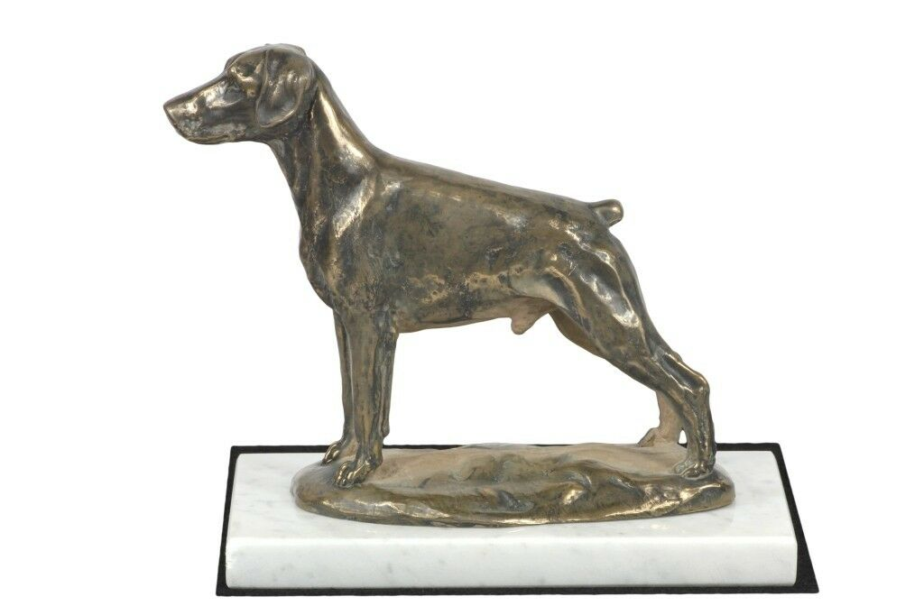 Doberman  figurine made of Cold Cast Bronze on the white marble, Art Dog