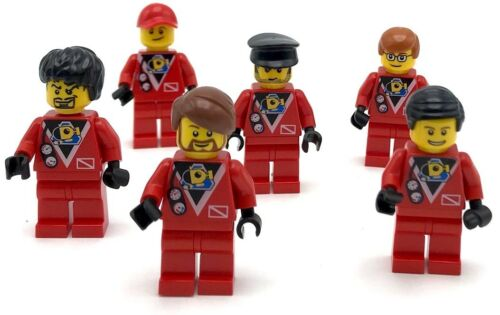 LEGO 6 RED SCUBA DIVER DIVE INSTRUCTORS MINIFIGURE FIGURES