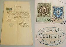Quittung FÜNFHAUS (Wien) 1884 / Krankenhaus-Kosten für Fleischbank-Gehilfen