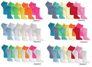 10-Paar-Socken-SNEAKER-Fuesslinge-Damen-Maedchen-Sneakersocken-uni-NEON-PASTELL