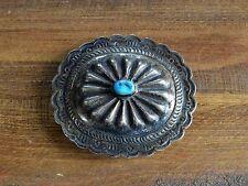 Vintage Navajo Turquoise Sterling Silver Belt Buckle