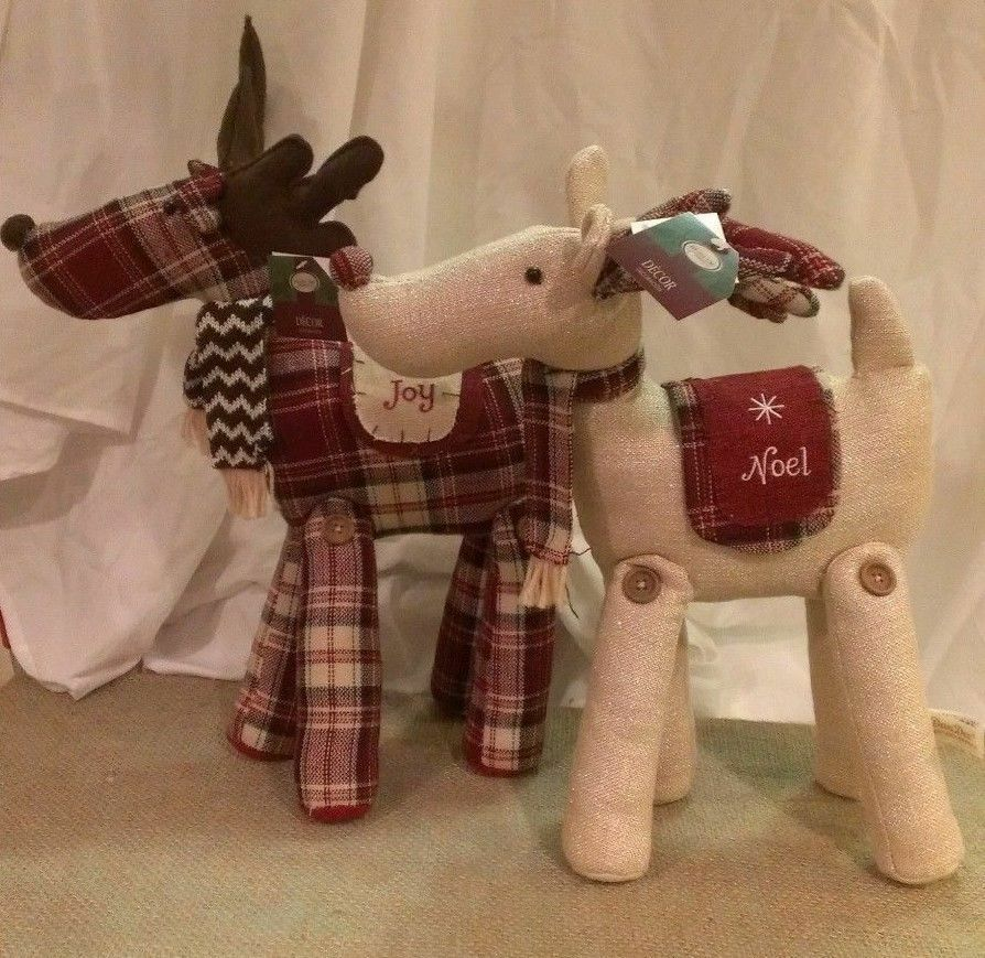 2 Christmas Reindeer Rustic Burlap Embroidered Red Plaid Sparkly Creme