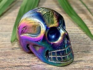 Titanium-Aura-Skull-Crystal-Skull-Protection-Gemstone-Specimen-Reiki-Chakra