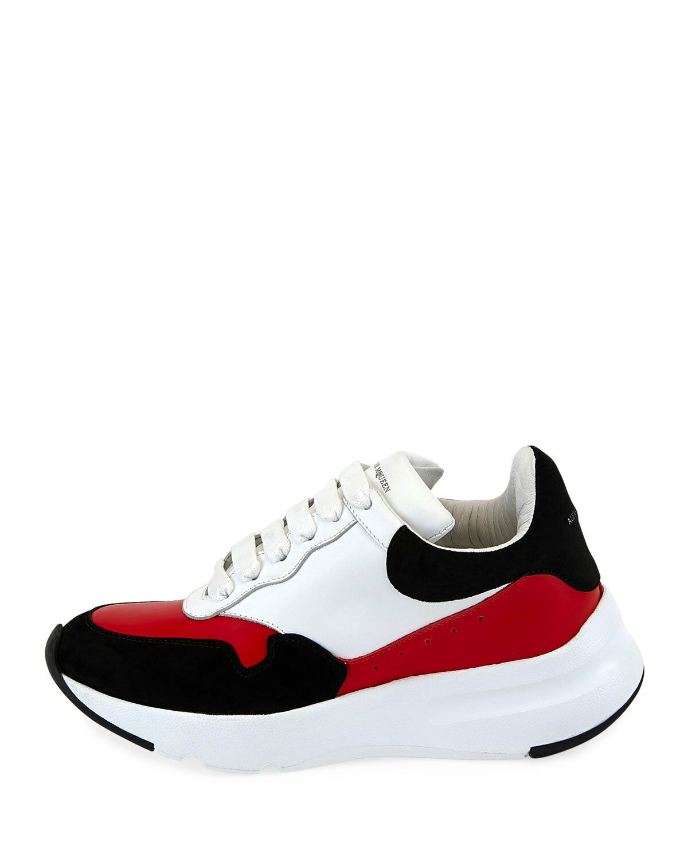 New Alexander McQueen Pelle colorblock Trainer Sneaker White Red Black 40   10