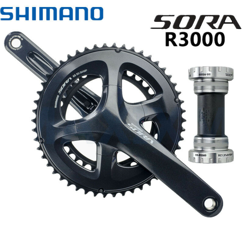 Shimano Sora FC-R3000  2x9 Speed Chainset Crankset 50t 34t 170mm Arms BB-RS500  online at best price