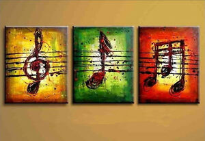 HOT-SALE-NO-Frame-Hand-painted-Oil-Painting-On-Canvas-Set-3PCS-Music