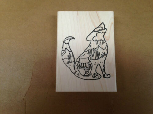 Southwest Cactus Southwestern Desert Scenic Coyote Mounted Rubber Stamp