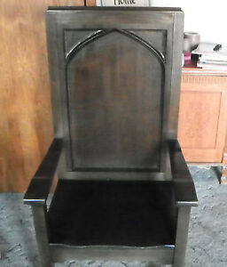 Image Is Loading Quartersawn Oak Gothic Armchair Entry Chair AC144