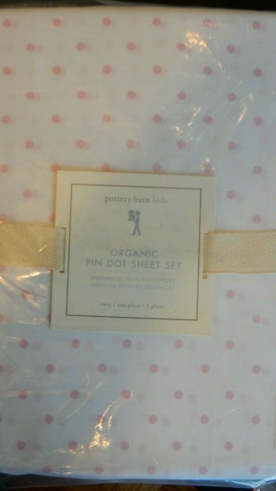 POTTERY BARN Kids Pin Dot Organic Twin Sheet Set Rose