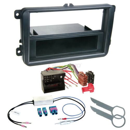 Autorradio kit de integracion 1-din VW Polo 09-14 cable enmarcar negro