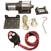 Electric 2,000 Lbs Atv Winch Kit Trailer Tow Recovery 12v Boat Truck Car Mobile