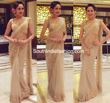 Bollywood Designer Sarees- Brown Party Wear Saree With Heavy Border Work