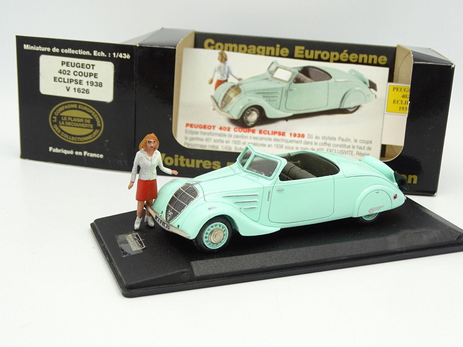 Elysée Résine CEC 1/43 - Peugeot 402 Eclipse 1938 + Figurine