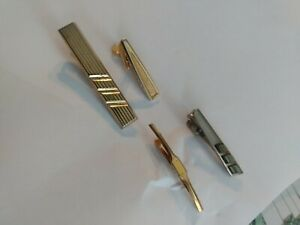 HICKOK-amp-WEBER-USA-Vintage-Gold-Tone-Tie-Clips-amp-Tie-Clasp-lot-of-4-pieces