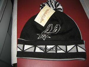how to buy big sale better MENS SAN ANTONIO SPURS 2 FACE Mitchell & Ness Winter BEANIE HAT ...