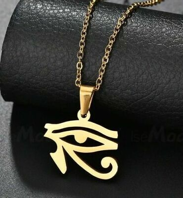 "Bronze Egyptian Eye of Horus Ra Amulet Pendant 21/"" Chain Necklace in Gift Bag"