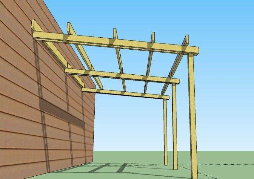 Pergola addossata in legno 5x3 tettoia pensilina pompeiana for Pergola addossata in kit