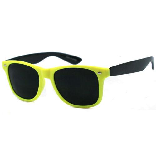 Black Temple WF 07 Yellow Frame Retro Square Frame Sunglasses