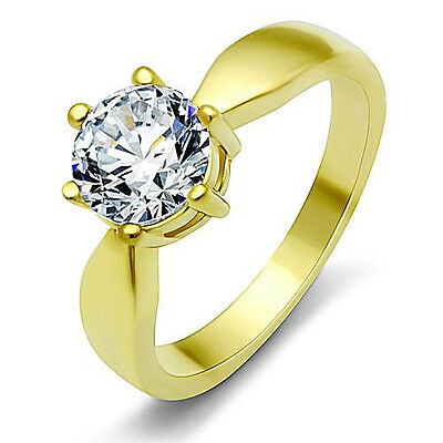 Golden Engagement Ring CZ Round Clear Solitaire Stainless Steel with Giftbox