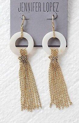 JLo Jennifer Lopez Collection Jewelry Shell Disc Linear Fringe Earrings NEW $22