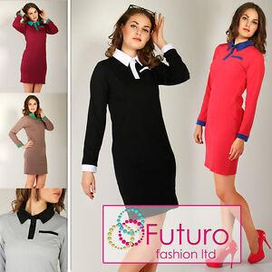 Elegante-Vestito-con-Collare-amp-Tasca-2-Colours-Bottoni-Casual-Dimensione-8-16