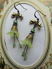 LUCITE FLOWER EARRINGS VINTAGE STYLE Lemon with Peridot Swarovski elements