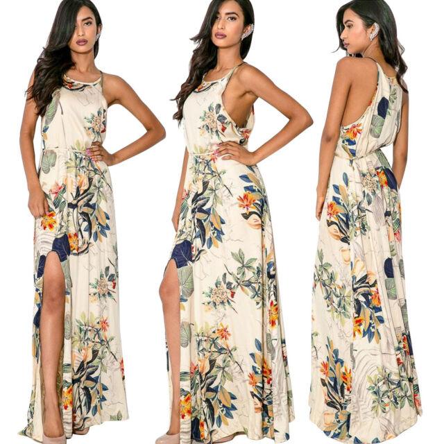 Sexy Women Summer Boho Floral Long Maxi Evening Party Dress Beach Dress Sundress