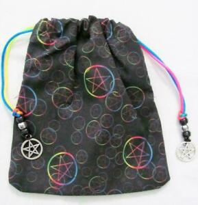 Rainbow-Pentacle-Pentagram-Wicca-Pagan-Tarot-Card-Drawstring-Mojo-Bag-Pouch
