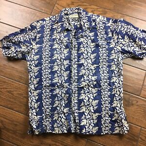 Cooke-Street-MENS-LARGE-Honolulu-Blue-Floral-Short-Sleeve-Hawaiian-Shirt