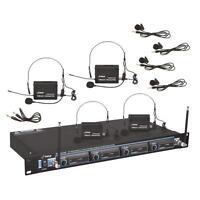 PYLE Pdwm4400 Rack Mount 4 Mic Vhf Rack Mount Wireless Lavalier / Headset