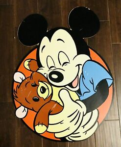 "Walt Disney World 1980s Mickey Mouse Doll And Teddy Bear 32""X24"" Prop Park Sign"