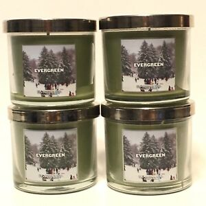 NEW-4-BATH-amp-BODY-WORKS-EVERGREEN-4-OZ-SCENTED-FILLED-MEDIUM-CANDLE-SLATKIN-amp-CO